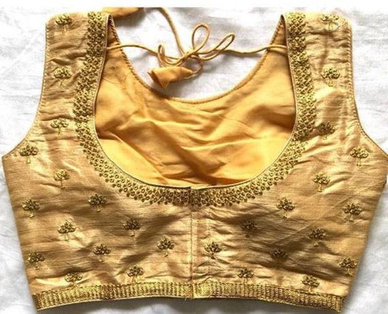 Gold Designer Readymade Butta Work Banglori Silk Wedding Saree Stitched Embroidery Blouse Crop Sari Top Work For Women