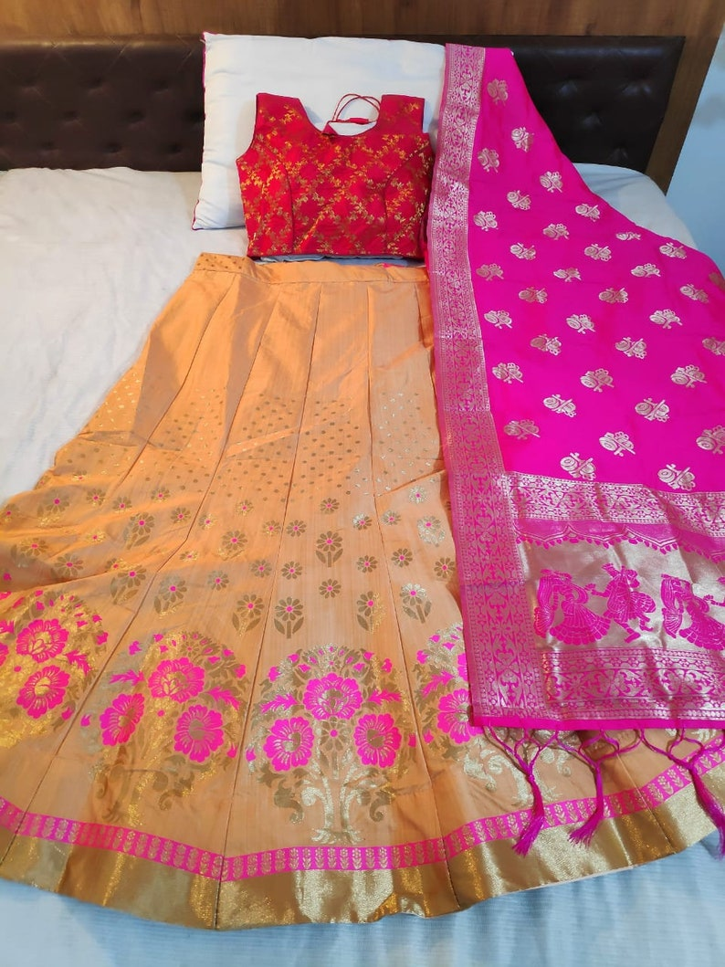 Peach Orange Designer Silk brocade Banarasi Weaving lehenga with Silk Brocade readymade Choli Blouse and Banarasi Silk Pink Shawl  Dupatta