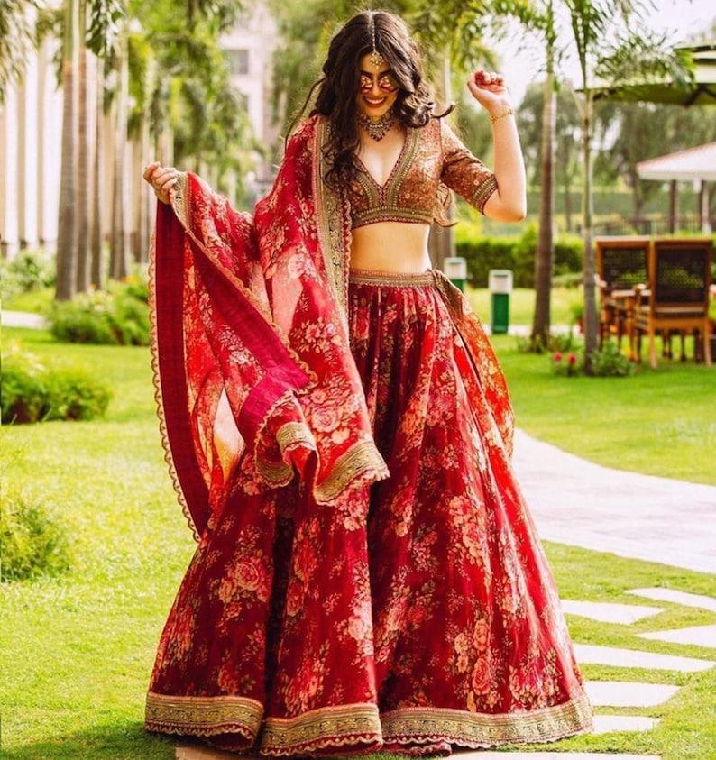 Indian wedding bridal Wedding dress Wedding Lehenga Choli Ghagra Choli Wedding function Party Wear dress