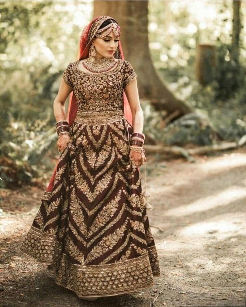 bridal lehenga choli for women indian pakistani wedding dress heavy embroidery work skirt ghagra chaniya choli