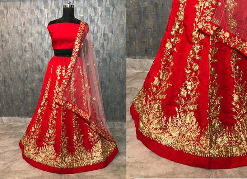 Designer Taffeta silk Beautiful embroidered Red lehenga choli with blouse and dupatta  Chaniya choli Active