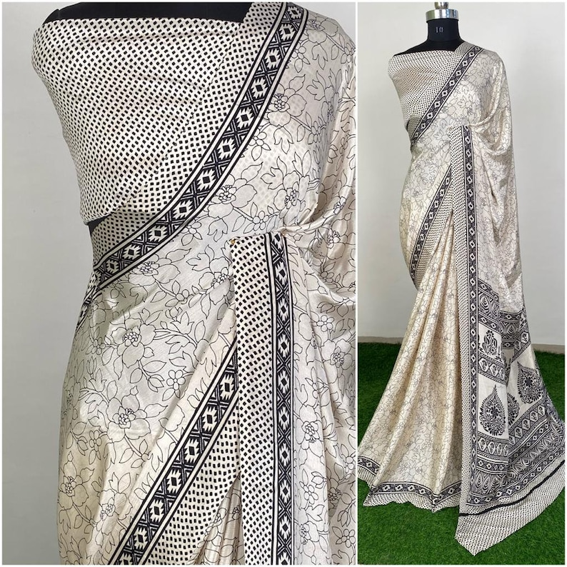 Soft Silk Designer Printed Saree Bridal Gift Occasional Party Wedding Sari Wear with Desinger Printed Blouse