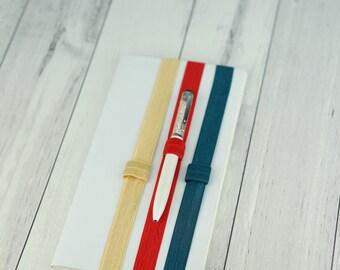 Elastic Pen HolderPlanner band pink white cream gold