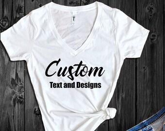 102690a7d49a V-neck, Crew neck, Custom T Shirt - Custom Shirts - Personalized T Shirt - Custom  T-Shirts - Custom T-Shirt - Custom Logo Shirt