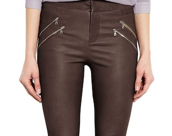 c15ccf82873 Women stretchable genuine lambskin leather pant