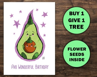 Avocado Birthday Card Gift For Vegetarian Or Lover Foodie Zero Waste Vegan 30th 40th