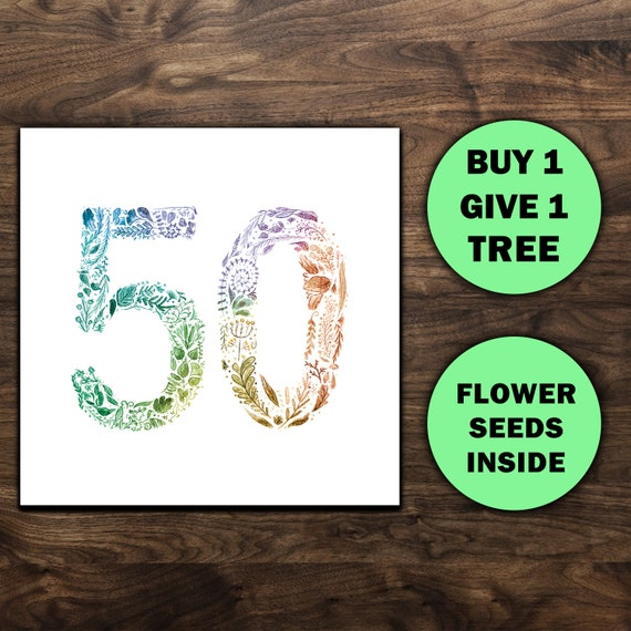 50th Birthday Cards Gift Eco Friendly Seed