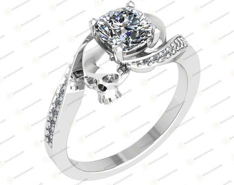 Gothic Wedding Ring 2.25Ct Cushion Cut White Diamond Two Skull Engagement Ring 925 Sterling Silver with White or Black or Rose Gold Plating