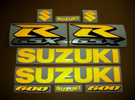 GSXR 1000 neon fluo yellow decals stickers graphics kit set fluorescent signal