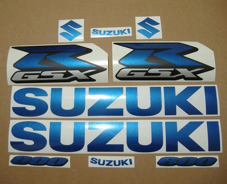 Suzuki Gsx R 600 750 1000 Custom Pearl Blue Replacement Decals Stickers Graphics Adesivi Pegatinas Aufkleber Autocollants Emblems Logo K5