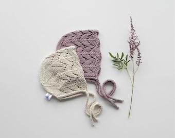 9115bc7ab35 Baby Knit Bonnet Cotton Yarn Boho Hand Knit Baby Bonnet Vintage Style  Bonnet Baby Pixie Hat Hand Knit Baby Hat Baby Sunhat Baptism Bonnet