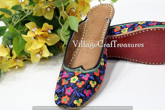 Women back open jutti flat mojari beaded sandals ethnic shoes khussa punjabi jutti for women