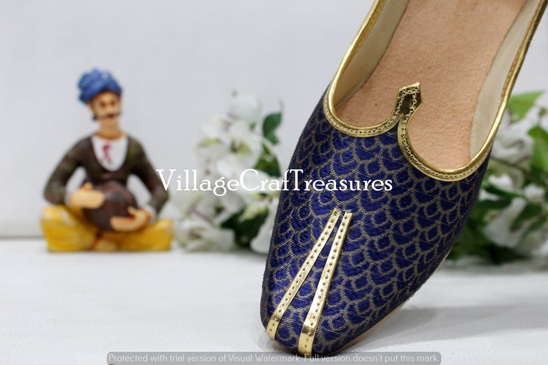Mojari for Indian Mens Tradition Ethnic Jutti and Sherwani Matching Shoes for Wedding Blue