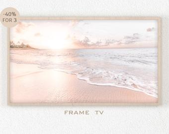 Samsung Frame TV Art Beach, Pink Sunset Sea 4k Print, Boho Beach Frame TV Art, Beach Decor Wall Art, Instant Digital Download Art, Summer
