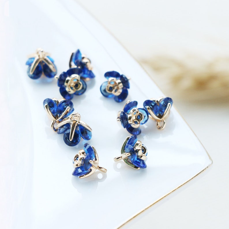 Ink Blue Flower Charm,8mm,Jewelry Making,Material Craft Supplies Zircon Flower Pendant 10pcs CZ Pave Charm