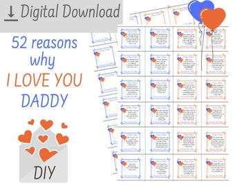 Printable 100 Reasons Why I Love You Daddy Sentimental Diy