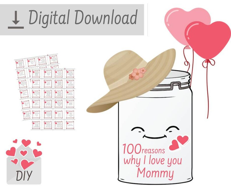 Printable 100 Reasons Why I Love You Thank You Mom Quotes Etsy
