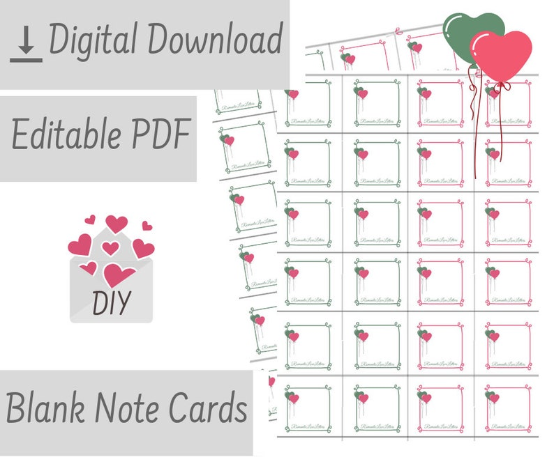 photo relating to Printable Blank Note Cards referred to as PRINTABLE Custom-made Blank Be aware Playing cards Editable Get pleasure from Notes Simple Notecards Do-it-yourself Presents For Him Her