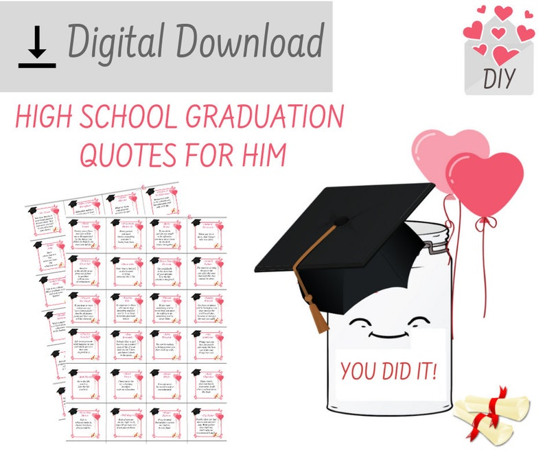 PRINTABLE High School Graduation Quotes For Son Motivational Inspirational  Words of Wisdom Quotes DIY Graduation Gifts For Him Brother Guys