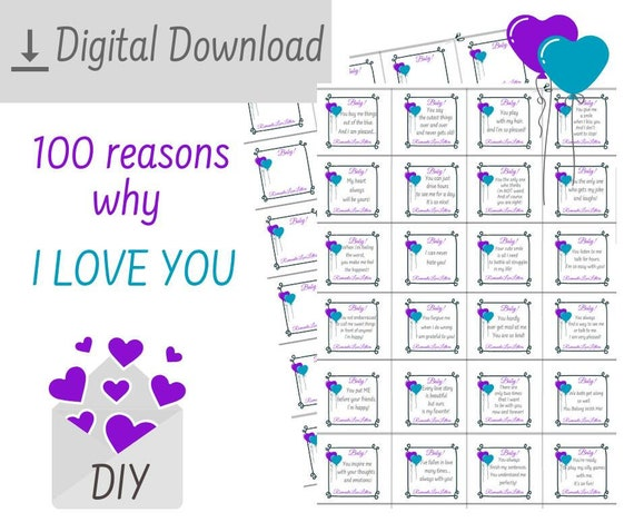 PRINTABLE 100 Reasons Why I Love You Romantic Love Messages For Him Love  Notes DIY Kit Long Distance Relationship Gifts For Boyfriend