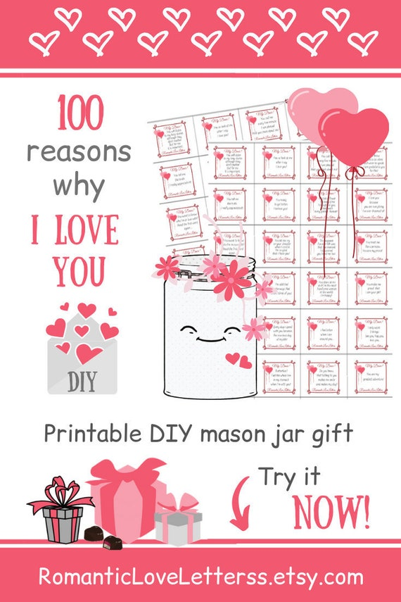 First Anniversary Gift For Him 100 Reasons Why I Love You Jar Etsy