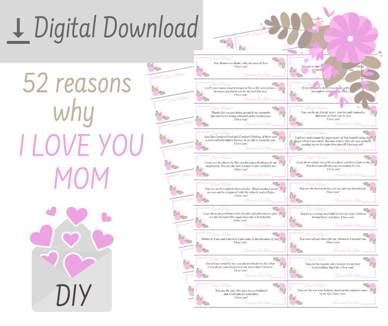 Printable 52 Reasons Why I Love You Mothers Love Quotes Thank Etsy