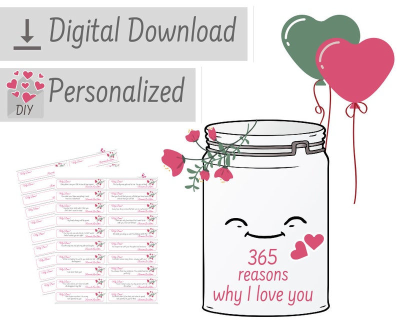PRINTABLE Personalized Love Notes 365 Reasons Why I Love You DIY Kit  Sentimental Long Distance Relationship Girlfriend Romantic Gift For Her