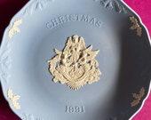 Wedgwood blue jasperware Christmas Plate 1991, Hark the Herald Angels Sing, Wedgwood Jasperware, jasperware plate, Wedgwood Christmas plate