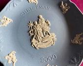 Wedgwood blue jasperware Christmas Plate 2000, The Flight in Egypt, Wedgwood Jasperware, jasperware plate, Wedgwood Christmas plate