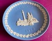 Wedgwood blue jasperware Christmas Plate 1970, Trafalgar Square, Wedgwood Jasperware, jasperware plate, Wedgwood Christmas plate