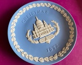 Wedgwood blue jasperware Christmas Plate 1972, St Paul s Cathedral, Wedgwood Jasperware, jasperware plate, Wedgwood Christmas plate
