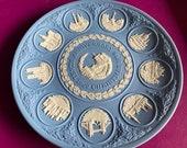 Wedgwood blue jasperware Christmas Plate Tenth Anniversary, Wedgwood Jasperware, jasperware plate, Wedgwood Christmas plate