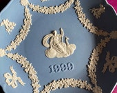 Wedgwood blue jasperware Christmas Plate 1999, Wedgwood Jasperware, jasperware plate, Wedgwood Christmas plate