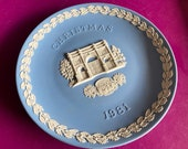 Wedgwood blue jasperware Christmas Plate 1981, Marble Arch, Wedgwood Jasperware, jasperware plate, Wedgwood Christmas plate