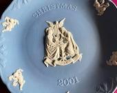 Wedgwood blue jasperware Christmas Plate 2001, Christmas Joy, Wedgwood Jasperware, jasperware plate, Wedgwood Christmas plate