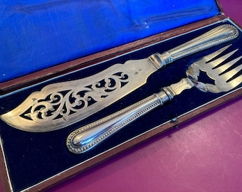 Kiel, Germany Dated 1845 Decorative Antique Early Victorian Period Solid Silver  Fish Slice with Ebony Handle Schleswig Holstein
