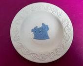 Wedgwood Jasperware trinket dish in white with applied blue neoclassical scene, Wedgwood dish, Wedgwood trinket dish, Wedgwood collectable