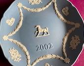 Wedgwood blue jasperware Christmas Plate 2002, horse gift idea, Wedgwood Jasperware, jasperware plate, Wedgwood Christmas plate