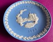 Wedgwood blue jasperware Christmas Plate 1969, Windsor Castle, Wedgwood Jasperware, jasperware plate, Wedgwood Christmas plate