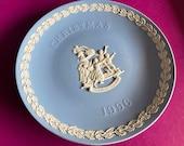 Wedgwood blue jasperware Christmas Plate 1996, Merry Christmas, Wedgwood Jasperware, jasperware plate, Wedgwood Christmas plate