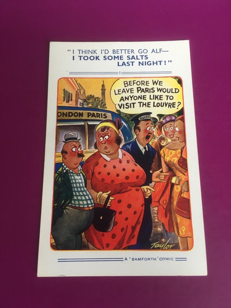 English collectable mid century postcard with a cheeky joke naughty postcard Vintage 1950\u2019s rude novelty postcard