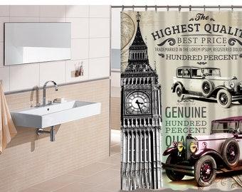 Big Ben Old Cars City Shower Curtain Bathroom Decor Home Textiles