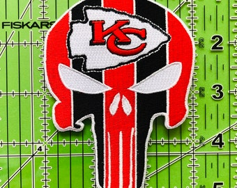 Embroidered Patches 4 KC Punisher Iron onSew on Patch Buy 2 Get 1 Free #P-4015 Kansas City Chiefs Patch,NFL Sports Team Patch