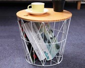 Wire Basket With Wooden Slab, Storage Basket, Coffee Table, Bed side table, bookshelf decor, Storage Bin and Basket, metal bin with lid