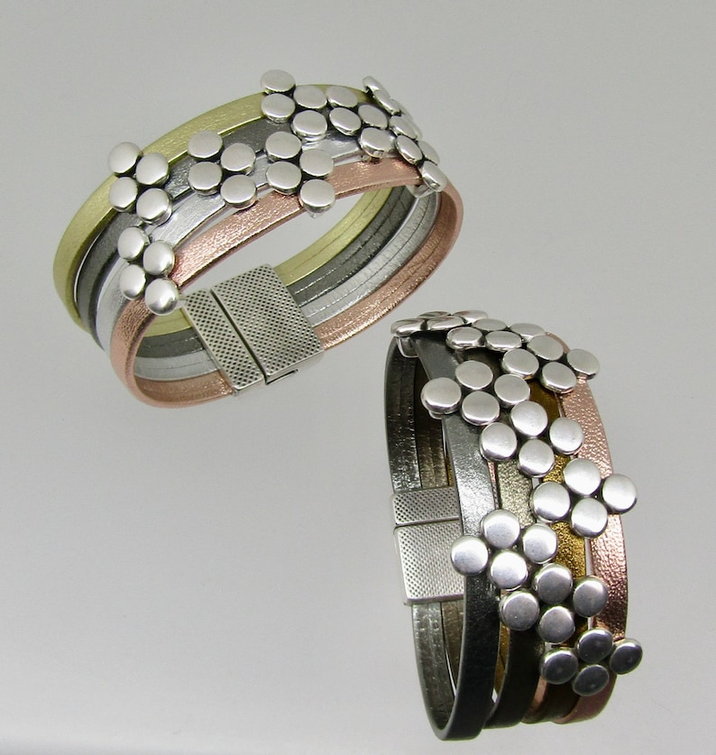 Metallic Leather Cuff Bracelet in your choice of leather colors great gift with a  magnetic clasp Woman/'s  leather cuff Bracelet