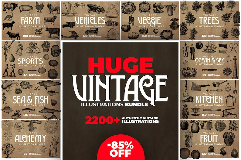 Black and White Clipart Bundle 2200 Items Vintage Bundle. image 0