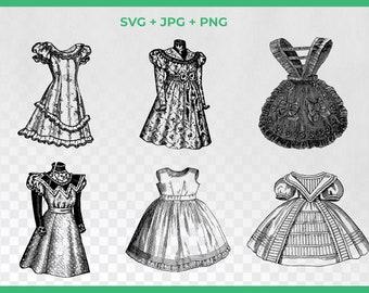Vintage Fashion SVG Clipart, Victorian Dress Fashion,Ball Dress Clipart, PNG Graphics, Dress SVG, Steampunk Fashion Svg