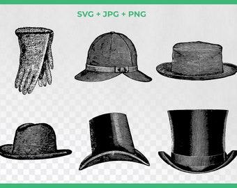 Vintage Top Hat SVG Clipart, Victorian Hat Fashion,Sherlock Hat Clipart, PNG Graphics, Gloves SVG, Steampunk Fashion Svg