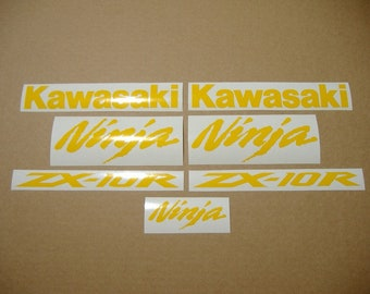 ZX10R Ninja bright lime green decals stickers graphics adhesives logo set kit 04