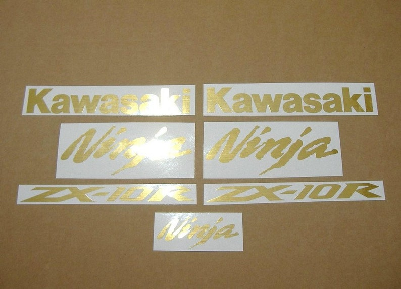 Kawasaki Zx6r Or Zx10r Ninja Brushed Gold Aufkleber Customized Decals Graphics Stickers Custom Color Set Lined Golden Kit Autocollants Logo
